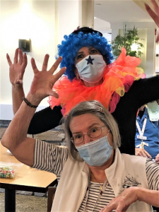 clowning with residents